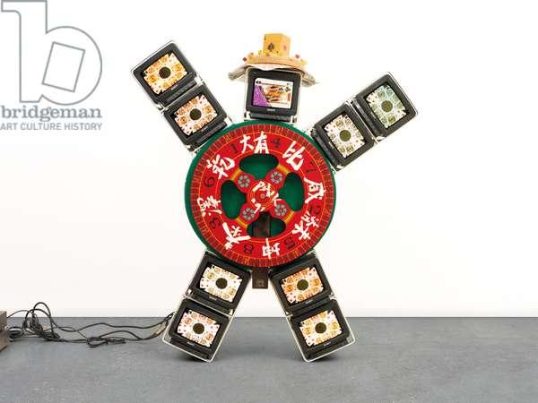 I Ching 36, 1991 (wood, felt, acrylic, playing cards, dice, aluminium framework an)