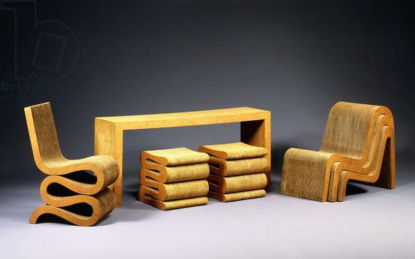 Laminated cardboard 'Easy Edges' chairs, stools and a console table, c.1972 (laminated cardboard)