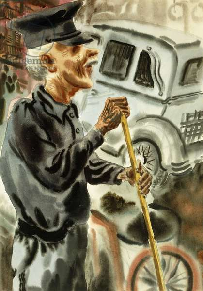 Streetsweeper; Strassenfeger,  (watercolour on paper)