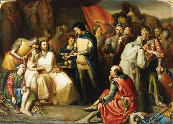 Scene in the Tent of Edward The Black Prince after the Battle of Poitiers: 'He Treated King John like an Honoured Guest, When at the Feast He Sate, For with Reverend Air and Forehead Bare, The Prince Did on Him Wait', (oil on canvas)
