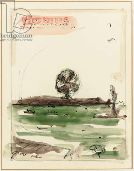 Proposed colossal monument for Staten Island, N.Y.C. - fan (study for cover of Domus magazine), 1965 (graphite, crayons & w/c on paper laid down on board)