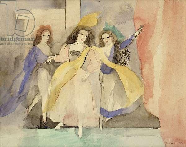 Three Dancers; Les Trois Danseuses, (watercolour on paper)
