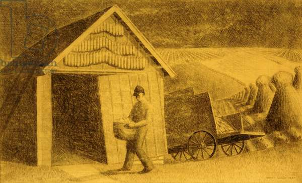 Seedtime and Harvest, 1937 (charcoal and pencil on tan paper)