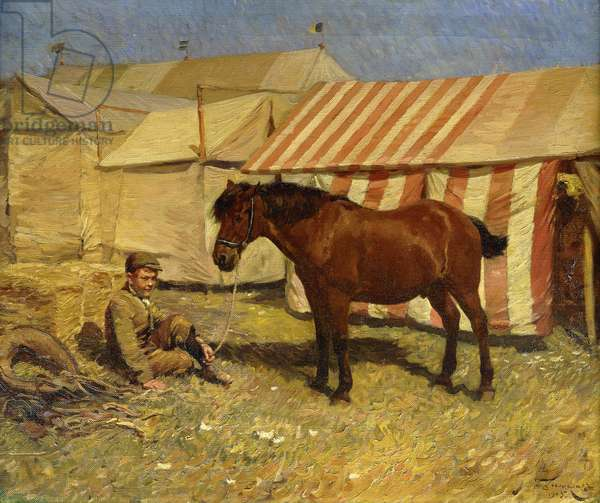 Boy with Pony by a Circus Tent, 1905 (oil on canvas)