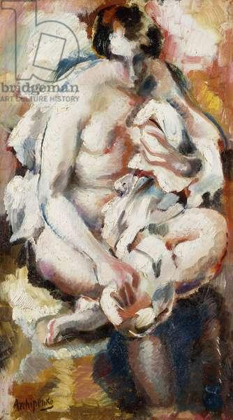 After the Bath; Apres le Bain, (oil on panel)