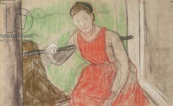 Woman at a Window,  (pastel, charcoal and pencil on grey paper)