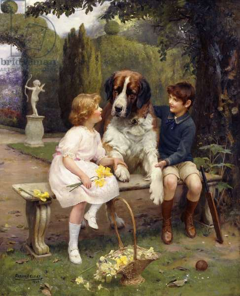 Children with a St. Bernard, 1922 (oil on canvas)