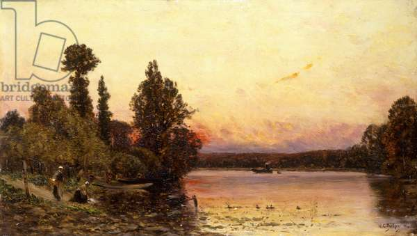 Sunset, At the River's Edge, 1904 (oil on panel)