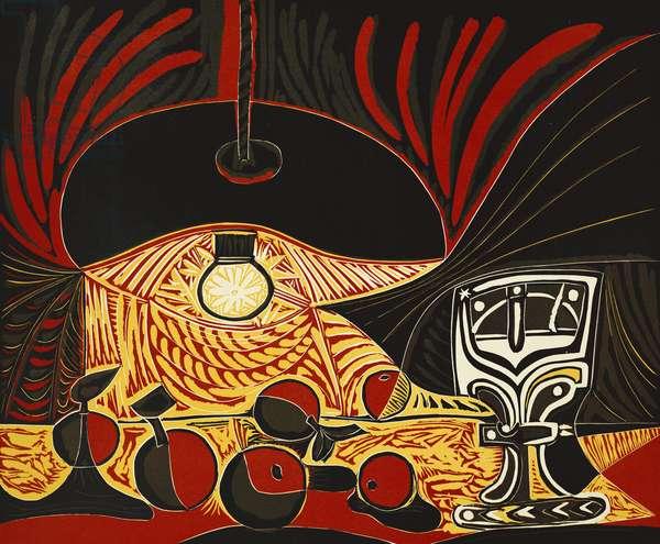 Still Life Under a Lamp; Nature Morte Sous la Lampe (Bloch 1101), 1962 (linocut printed in colours)