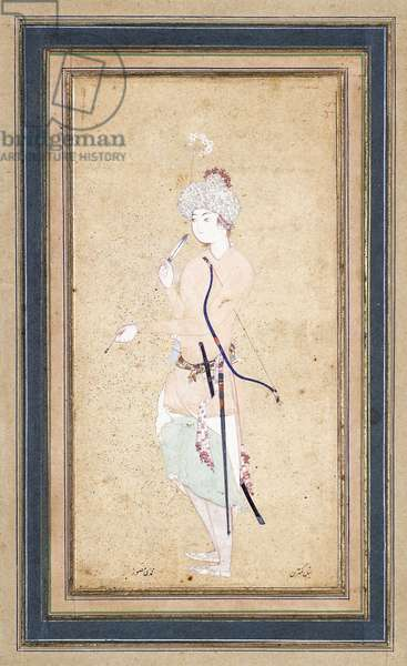 A Young Archer, c. 1580 (gouache with gold on buff paper)