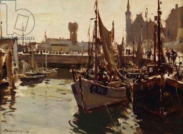 Shrimp Boats, Ostend, 1950 (oil on board)