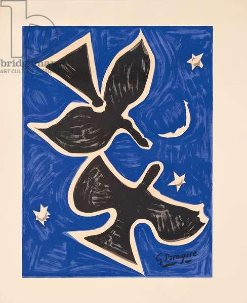 Blue Birds (Les Peintres Temoins de Leur Temps), 1961 (colour lithograph)
