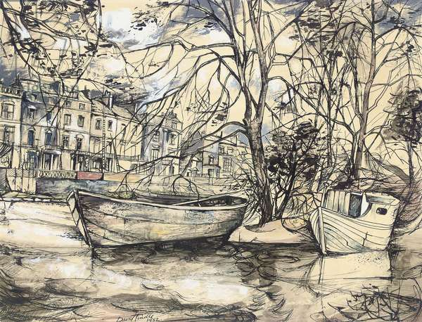 Regent's Canal, London, 1952 (pen & black ink with w/c & bodycolour on paper)