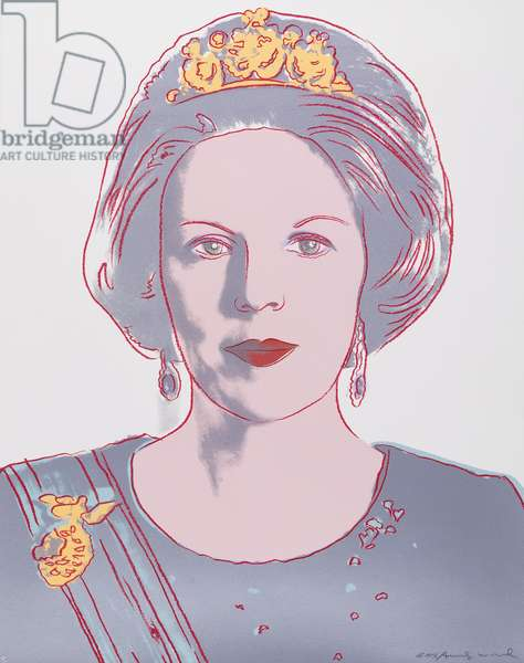 Reigning Queens (Royal Edition) - Queen Beatrix of Netherlands, 1985 (screenprint in colours with diamond dust on lenox museum board)