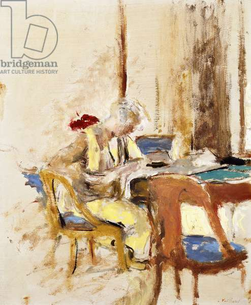 Reading in the Small Salon (Madam Hessel at Clayes Castle), 1927-1930 (oil on paper laid down on canvas)