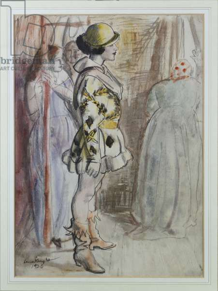 Performer before the Act, 1924 (w/c, bodycolour & black crayon on paper)
