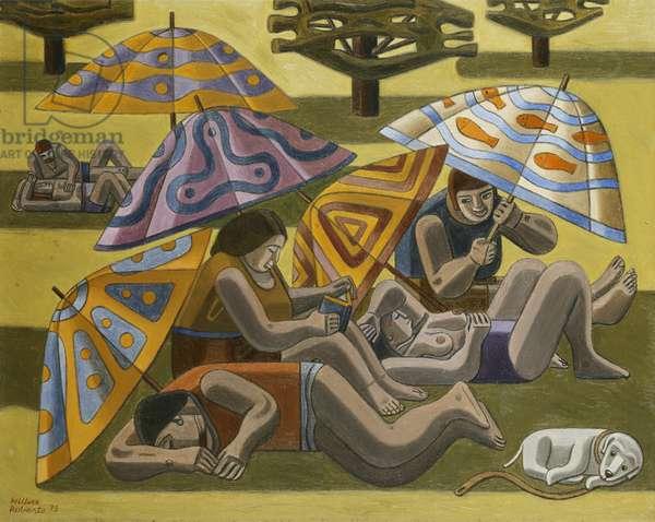 Sunbathers, Regents Park, 1973 (oil on canvas)