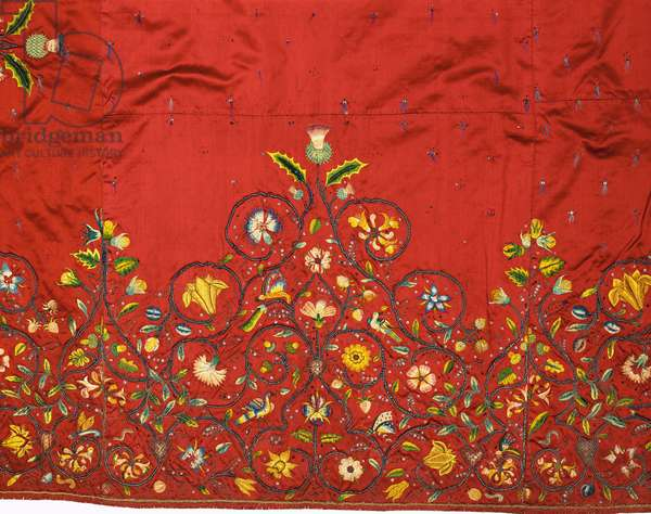 Detail of an important skirt or petticoat of crimson silk said to have been embroidered by Mary, Queen of Scots for Queen Elizabeth I while she was captive at Hardwick (silk)