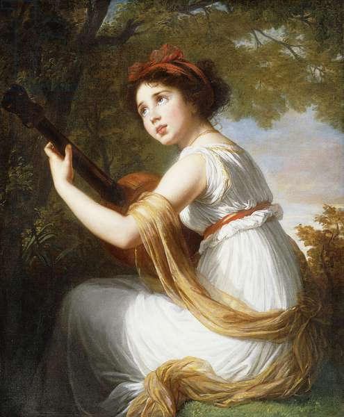 Portrait of the Artist's Daughter, seated three-quarter length, Playing a Guitar, c.1797 (oil on canvas)