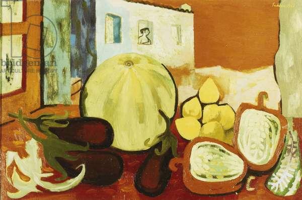 Fruit in Albatax, 1956 (oil on canvas)
