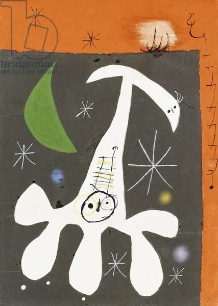 Person and Bird at Night II, 1965 (gouache, pen and India ink, pastel and collage on paper)