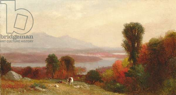 Cows and Sheep Grazing in an Autumn River Landscape (oil on canvas)
