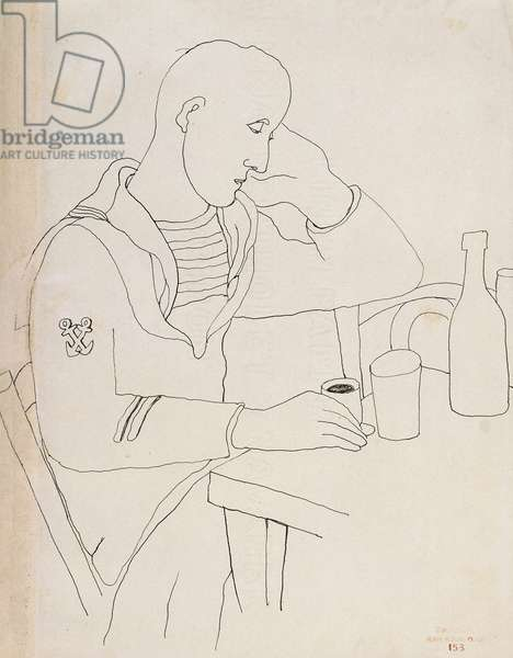 The Seated Sailor; Le Marin Assis, c.1925 (china ink on paper)