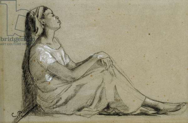 Jeune Negresse Assise, 1855-57 (charcoal and white on grey paper)