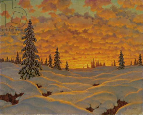 Sunset in Finland (oil on canvas)