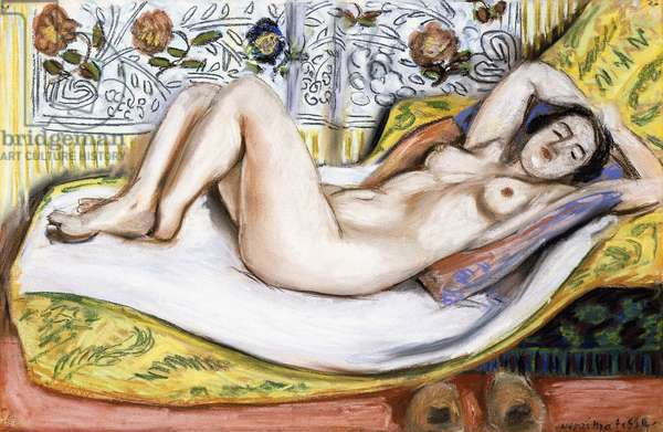 Nude on a Yellow Sofa, 1924 (pastel on paper)
