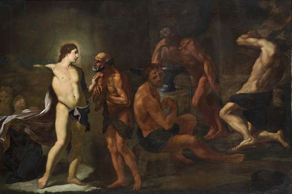 Apollo in the forge of Vulcan (oil on canvas)