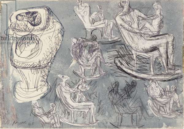 Studies for rocking chair and internal/external figure, 1948 (w/c over pencil & ball-point pen on paper)