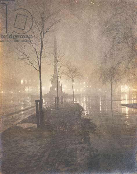 A Wet Night, Columbus Circle, New York, 1897-98 (gelatin silver print)