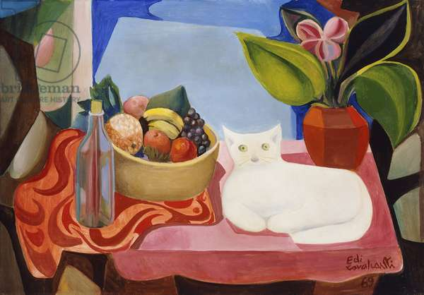 Still-life with White Cat, 1969 (oil on canvas)