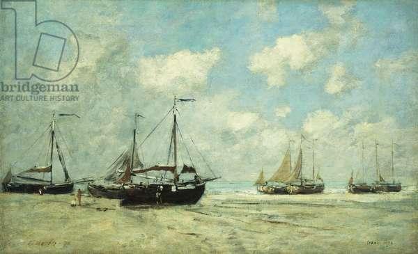 Boats on the Shore at Scheveningen; Scheveningue, Bateaux Echoues sur la Greve, 1875 (oil on canvas)
