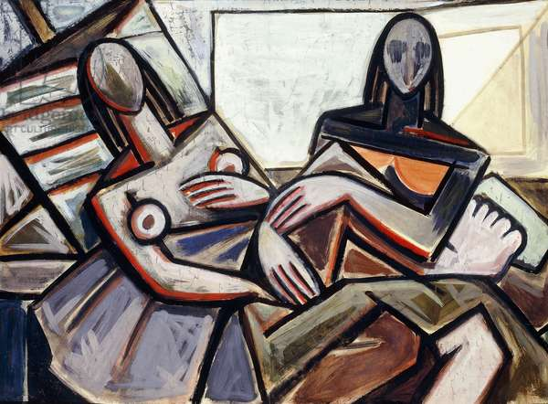 Two Figures; Dos Figuras, c.1938 (gouache and watercolour on paper laid down on canvas)