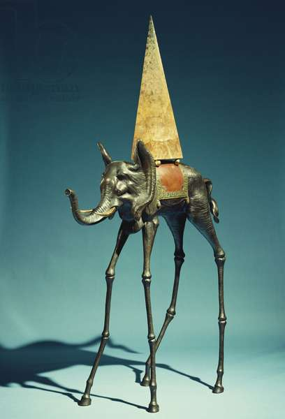 Elephant Spatial, 1981 (bronze with copper patina & painted bronze with lucite & brass)