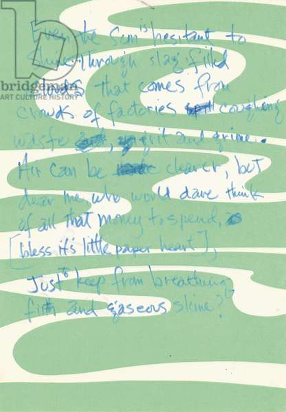 Handwritten Jimi Hendrix lyrics, c.1967 (blue ink on green & white paper)