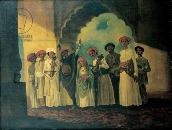 Group of Indian musicians playing a sarangi, a tambura and tablas, with a girl dancing on a terrace (oil on canvas)