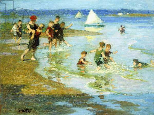 Children at Play on the Beach,  (oil on board)