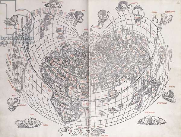 A Map of the World, 1511 (woodcut, red and black ink)