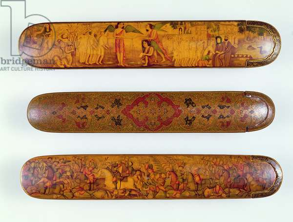 Qajar polychrome lacquered papier-mache qalamdan (pen case) painted with a scene of the Last Judgement, the damned to the left, the sacred to the right, c.1880, Tehran; Qajar qalamdan painted with a scene of Shah Ismail defeating the Uzbeks, c.1860