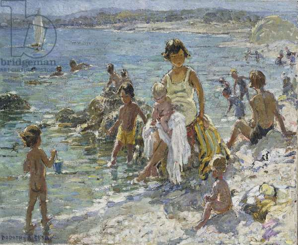 At the Seaside, (oil on canvas)