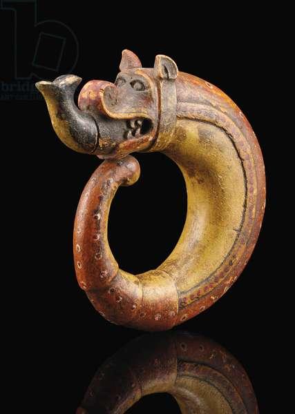 Dragon-shaped powder flask, possibly Gujarat (painted wood)