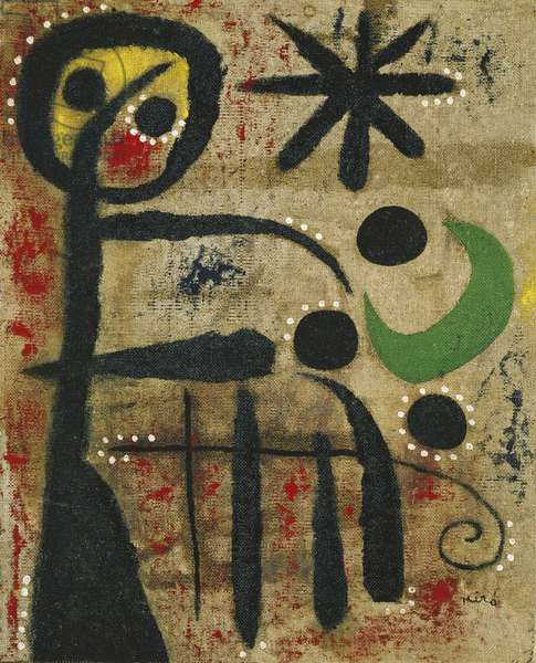 The Joy of the Little Girl by the Game of Constellations, 1954 (oil on burlap)