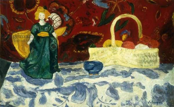 Still Life with a Doll and Fruit; Nature Morte a la Poupee et aux Fruits, (oil on canvas)