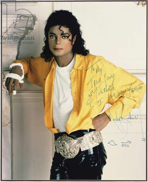 Large portrait of Michael Jackson from the cover of the single 'Liberian Girl', 1987 (photo)