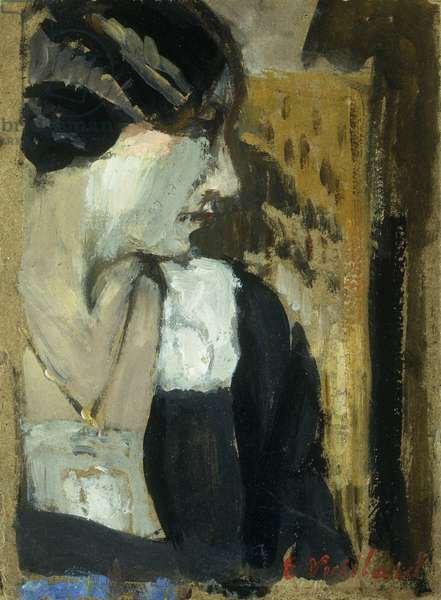 Profile of a Woman; Profil de Femme, (oil on board)