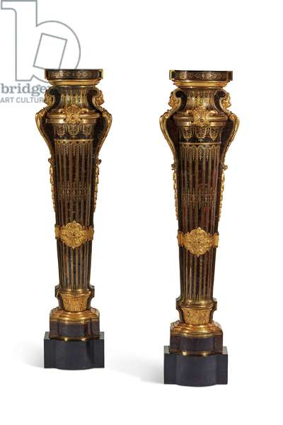 Pair of Louis XIV plinths, 1700-15 (oak with copper, pewter, tortoiseshell & gilded bronze)