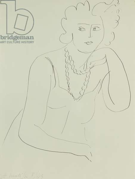 Woman with Necklace; Femme au Collier, 1943 (pen and ink on paper)